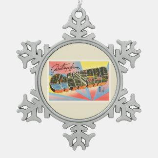 Cranford New Jersey NJ Vintage Travel Postcard- Snowflake Pewter Christmas Ornament