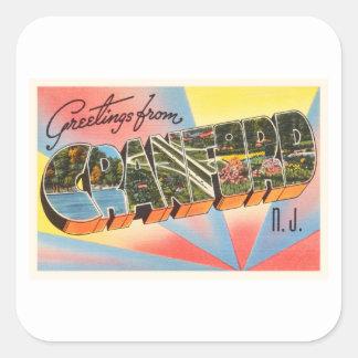 Cranford New Jersey NJ Vintage Travel Postcard- Square Sticker