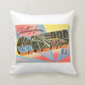Cranford New Jersey NJ Vintage Travel Postcard- Throw Pillow