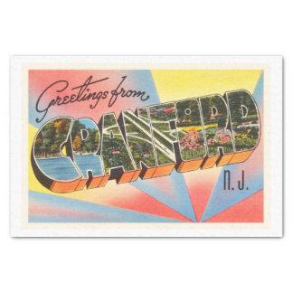 Cranford New Jersey NJ Vintage Travel Postcard- Tissue Paper