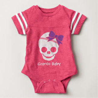Cranio Kid Girl Skull with Purple Bow Baby Bodysuit