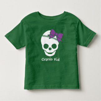 Cranio Kid Girl Skull with Purple Bow Toddler T-shirt