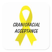 Craniofacial Acceptance Yellow Ribbon by Janz Square Sticker