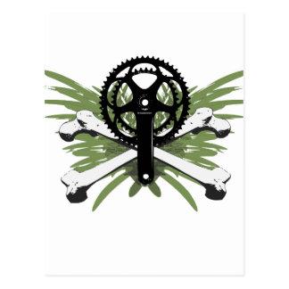 Crankset Bones - green Post Cards