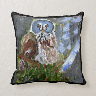 Cranky blue-faced owl pillow