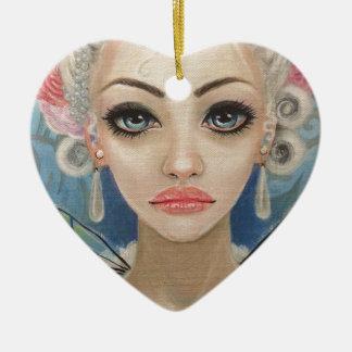 Cranky Fairy Original Art Ceramic Heart Decoration