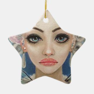Cranky Fairy Original Art Ceramic Star Decoration