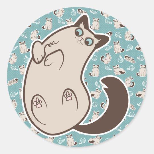 Cranky Kitty Cat Lying Down Classic Round Sticker