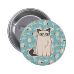 Cranky Kitty Cat Standing 2 Inch Round Button