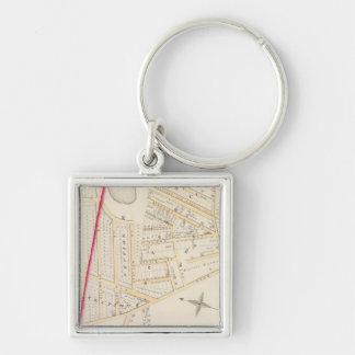 Cranston  Johnston Rhode Island Silver-Colored Square Keychain