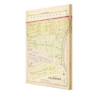 Cranston, mapa de RI Impresión En Lienzo Estirada