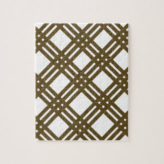 Crap Brown and White Gingham Jigsaw Puzzle