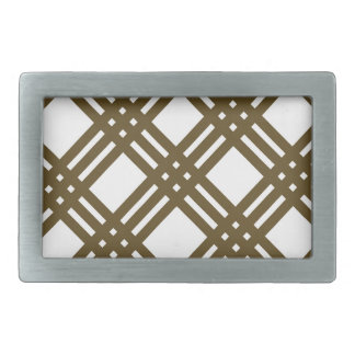 Crap Brown and White Gingham Rectangular Belt Buckle