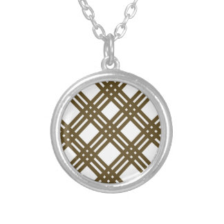 Crap Brown and White Gingham Round Pendant Necklace