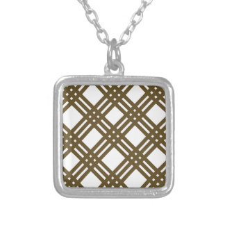 Crap Brown and White Gingham Square Pendant Necklace