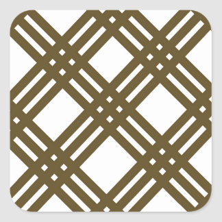 Crap Brown and White Gingham Square Sticker