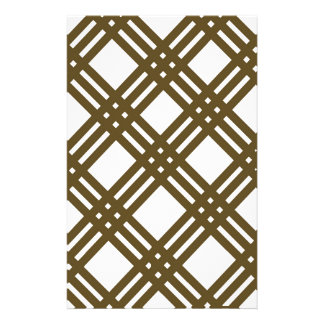 Crap Brown and White Gingham Stationery