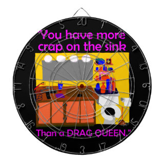 Crap on sink drag queen button dartboard with darts