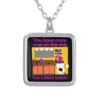 Crap on sink drag queen button square pendant necklace