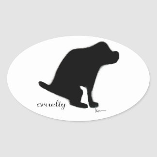 """Crapping on Cruelty"" Oval Sticker"