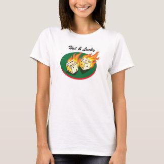Craps and Gambling_Flaming Dice_Hot & Lucky T-Shirt