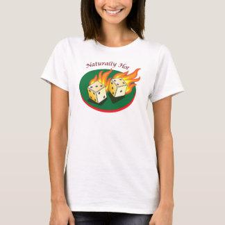 Craps and Gambling_Flaming Dice_Naturally Hot T-Shirt