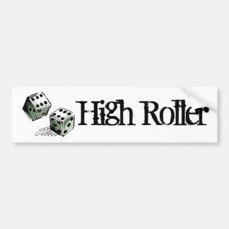 Craps Dice High Roller Gambling Bumper Sticker