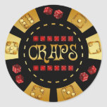 CRAPS GAMING CHIP CLASSIC ROUND STICKER