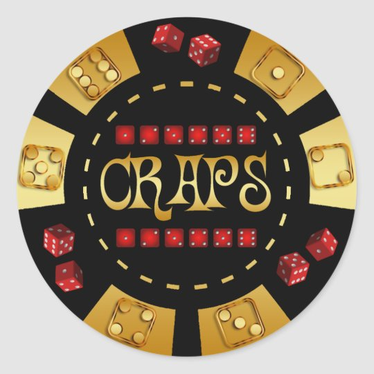 CRAPS GAMING CHIP CLASSIC ROUND STICKER