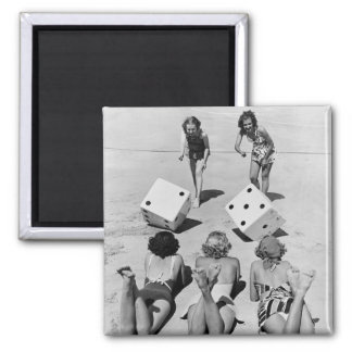 Craps in the Sand, 1940s 2 Inch Square Magnet