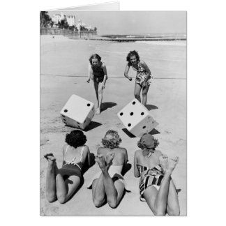 Craps in the Sand, 1940s Greeting Card