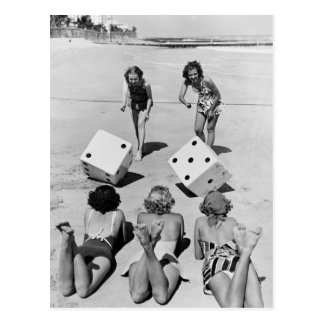 Craps in the Sand, 1940s Postcard