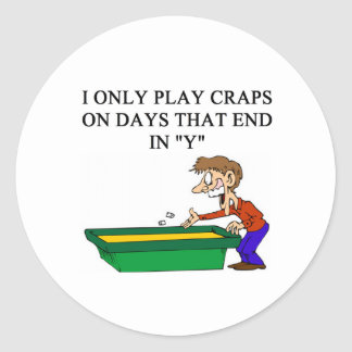 craps shooter casino gambler classic round sticker