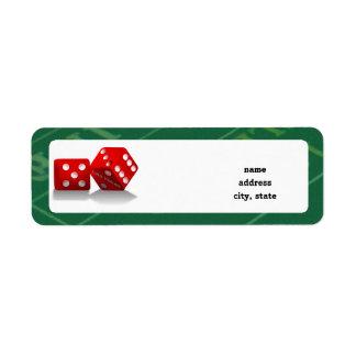 Craps Table & Las Vegas Dice Return Address Label