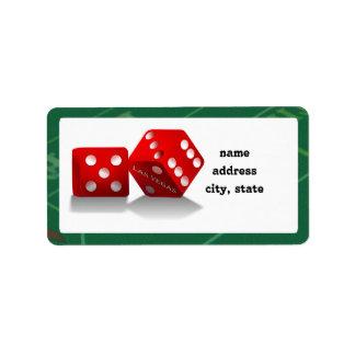 Craps Table & Las Vegas Dice Address Label