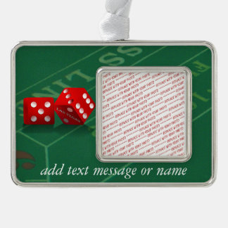 Craps Table & Las Vegas Dice Silver Plated Framed Ornament