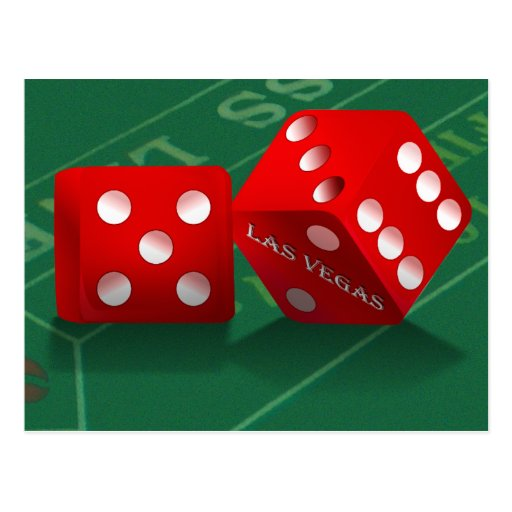 Craps Table & Las Vegas Dice Postcard