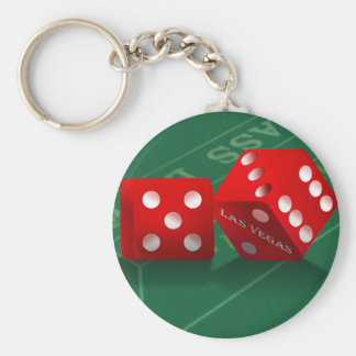 Craps Table With Las Vegas Dice Basic Round Button Keychain