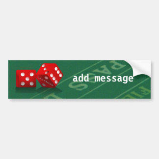 Craps Table With Las Vegas Dice Bumper Sticker