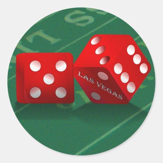 Craps Table With Las Vegas Dice Classic Round Sticker