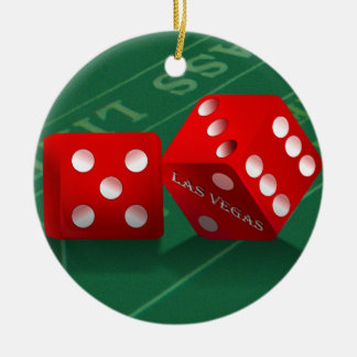 Craps Table With Las Vegas Dice Double-Sided Ceramic Round Christmas Ornament