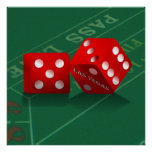 Craps Table With Las Vegas Dice Poster