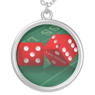 Craps Table With Las Vegas Dice Round Pendant Necklace