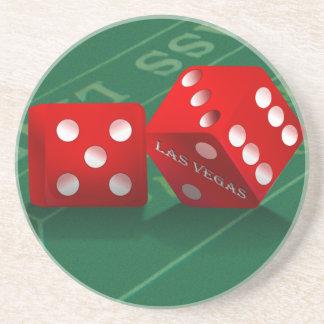 Craps Table With Las Vegas Dice Sandstone Coaster