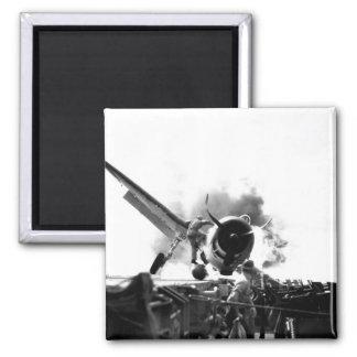 Crash landing of F6F on flight deck of_War Image 2 Inch Square Magnet
