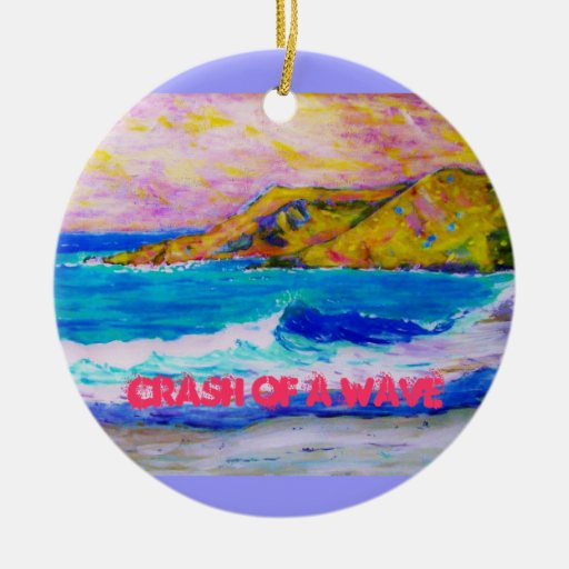 crash of a wave Double-Sided ceramic round christmas ornament