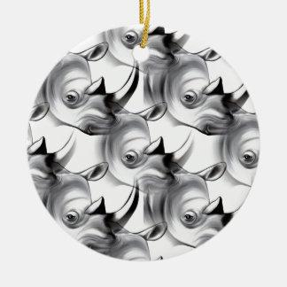 Crash of Rhinos Ceramic Ornament