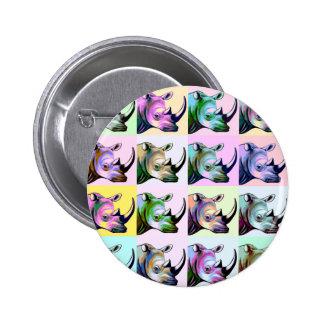 Crash of Rhinos Pop Art 2 Inch Round Button