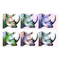 Crash of Rhinos Pop Art Rectangular Sticker