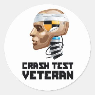 Crash Test Veteran Round Stickers